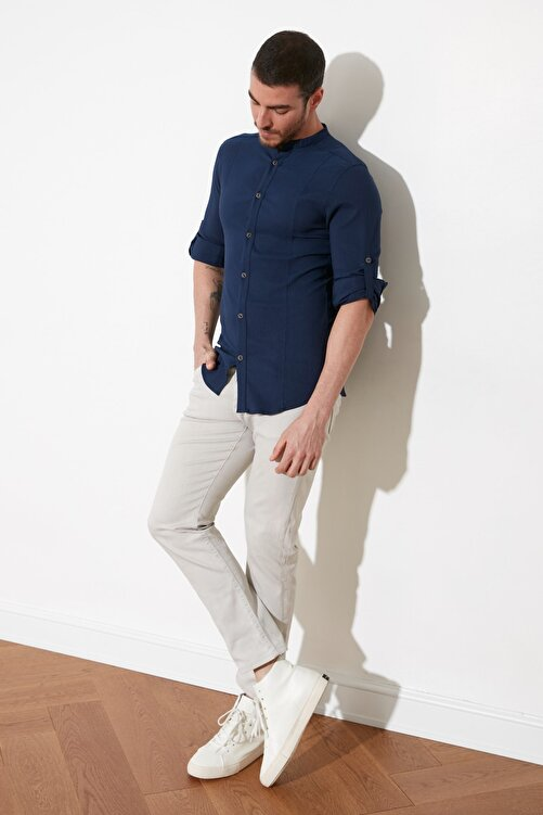 TRENDYOL MAN Lacivert Erkek Hakim Yaka Bengalin Kuplu Süper Slim Fit Gömlek TMNSS20GO0121 2