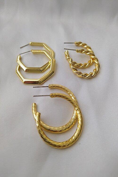 KOBA Kadın Altın Kaplama 3'lü Kombin Tasarım Küpe 1