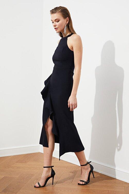 TRENDYOLMİLLA Siyah Volan Detaylı Elbise TPRAW19BB0144 2