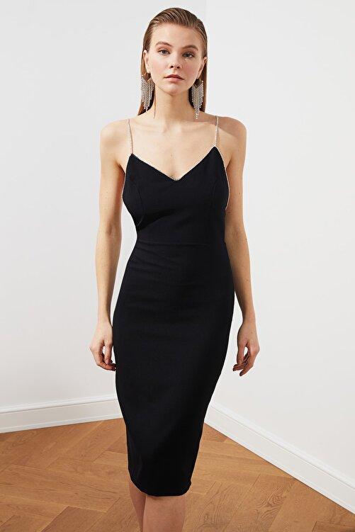 TRENDYOLMİLLA Siyah Aksesuar Detaylı  Elbise TPRSS20EL2061 2