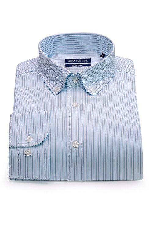 GIZA HOUSE Madison Erkek Mavi Çizgili Yaka Düğmeli Casual Fit Lüks Pamuklu Gömlek 1
