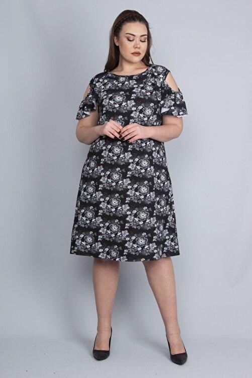 Şans Kadın Siyah Omuz Açık Elbise 65N22672 1