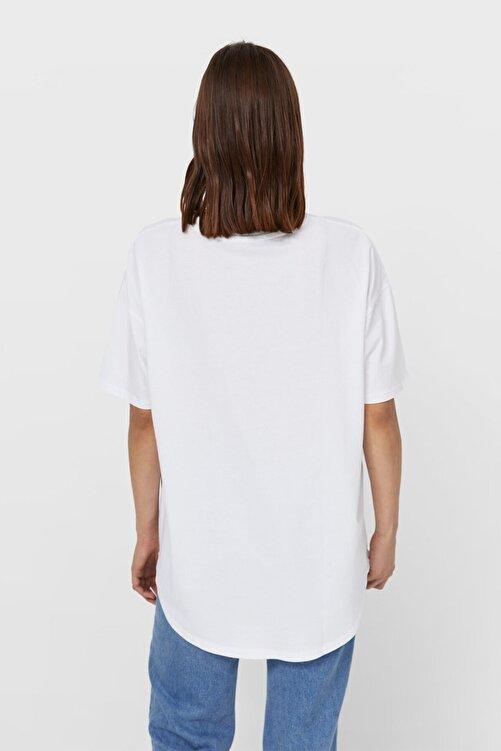 Stradivarius Kadın Beyaz Uzun Basic T-shirt 2