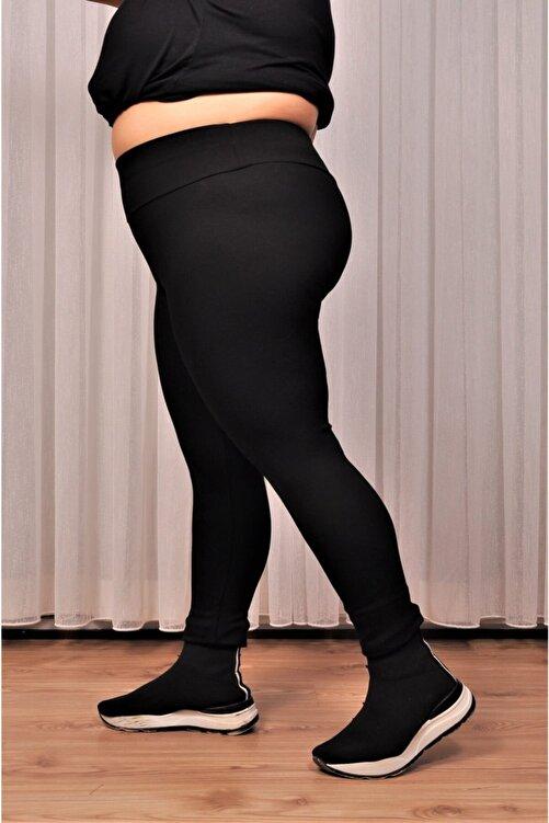 alissebutik Kadın Siyah Yüksek Bel Geniş Kemer 2xl-6xl (44-52 Beden )büyük Beden Örme Tayt 1