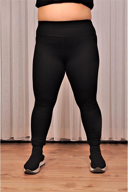 alissebutik Kadın Siyah Yüksek Bel Geniş Kemer 2xl-6xl (44-52 Beden )büyük Beden Örme Tayt 2