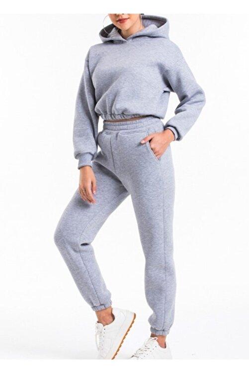 ronay giyim Kadın Gri Kapüşonlu Yüksek Bel  İçi Polarlı Kumaş Eşofman Takımı 1