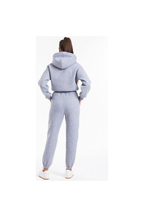 ronay giyim Kadın Gri Kapüşonlu Yüksek Bel  İçi Polarlı Kumaş Eşofman Takımı 2