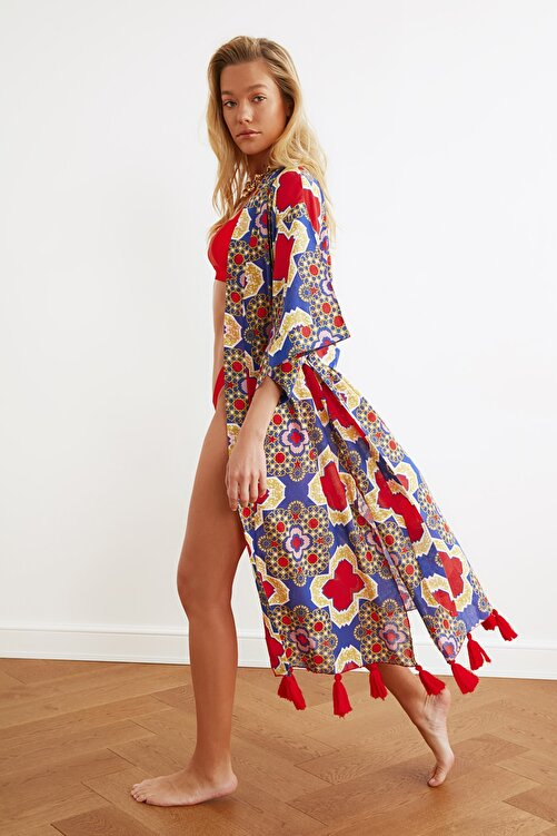 TRENDYOLMİLLA Etnik Desenli Püskül Detaylı Vual Kimono&Kaftan TBESS20KM0018 2