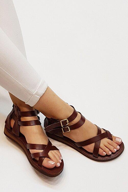 Marjin Kadın Kahve Hakiki Deri Parmak Arası Sandalet Zelos 1