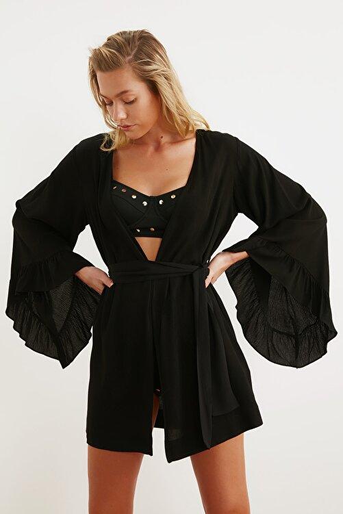 TRENDYOLMİLLA Siyah Volanlı Viskon  Kimono&Kaftan TBESS21KM0002 1