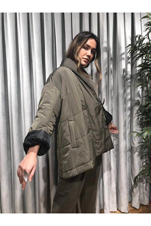 Say Kadın Haki Kimono Form Mont 2