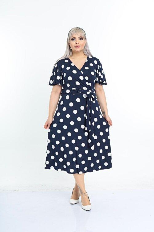 Şirin Butik Kadın Lacivert Puantiye Desenli Kruvaze Yaka Büyük Beden Elbise 2