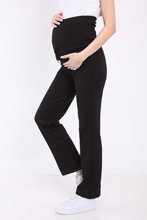 Luvmabelly Kadın Siyah Beli Ayarlanabilir Hamile Günlük Ev Pantolonu  Myra8500 1
