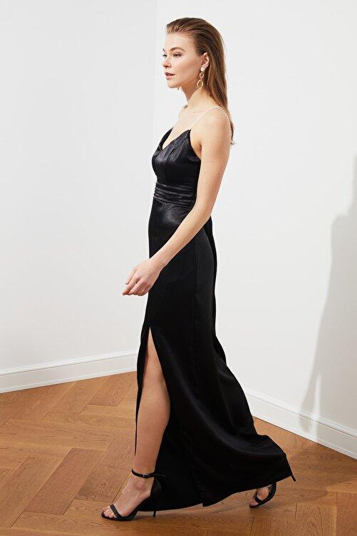 TRENDYOLMİLLA Siyah İnci Askılı Abiye & Mezuniyet Elbisesi TPRSS20AE0127 2