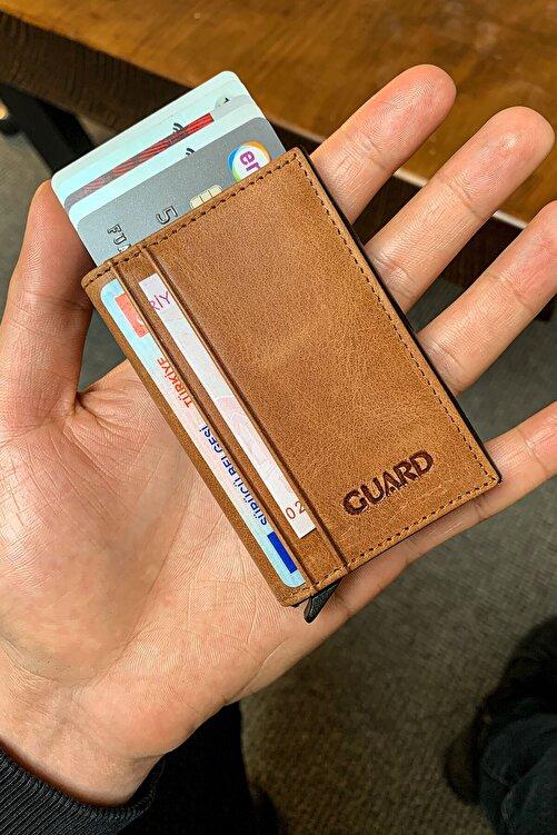 GUARD Unisex Taba Mekanizmalı Deri Kartlık 1