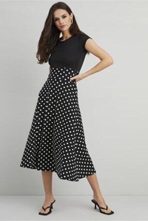 Butik Şımarık Kadın Siyah Puantiyeli Midi Krep Kumaş Elbise 2