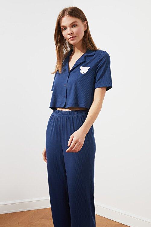 TRENDYOLMİLLA Mavi Kaşkorse Örme Pijama Takımı THMSS21PT0168 2