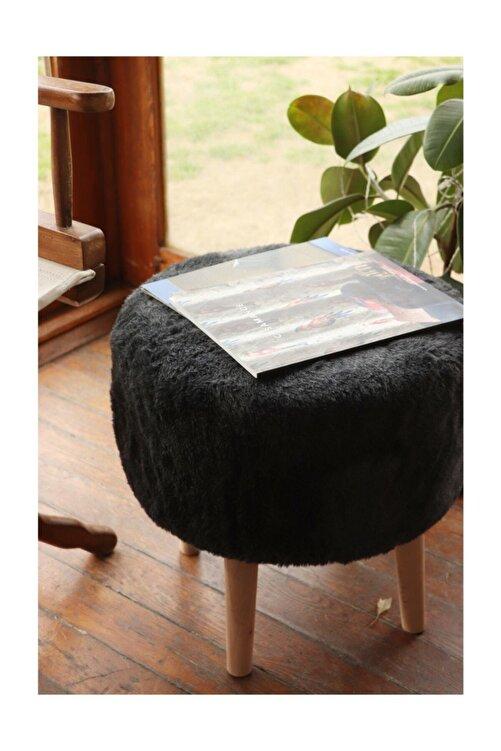Dekortif Yuvarlak Ahşap Ayaklı Siyah Peluş Puf  151092 1
