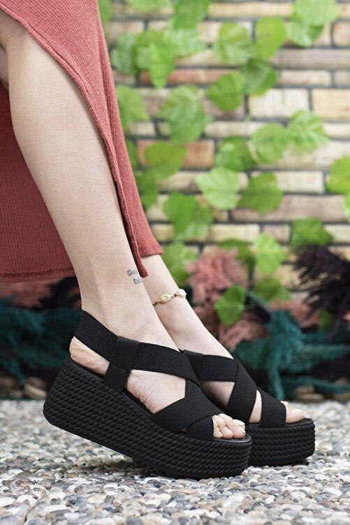 Riccon Kadın  Siyah Yüksek Topuklu Sandalet 0012460 1