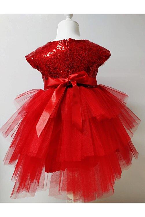 Durumini Kız Çocuk Kırmızı Tüllü Pul Payetli Parti Elbisesi 2