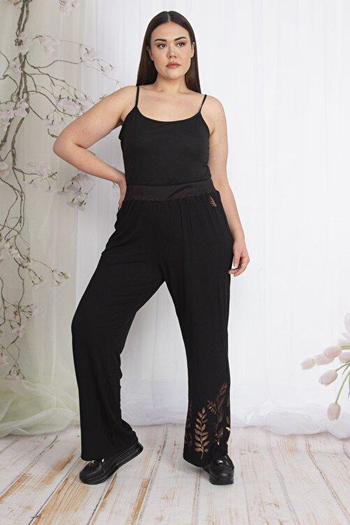 Şans Kadın Siyah Bel Kısmı Lastikli Geniş Paçalı Bakır Baskılı Pantolon 65N22876 2