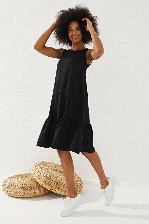Reyon Kadın Eteği Fırfırlı Sıfır Kol Elbise 1