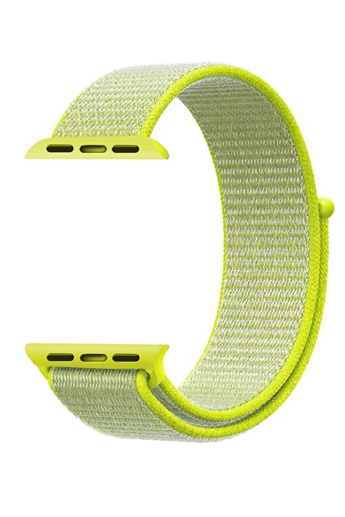 Robotekno Neon Yeşil Apple Watch Dokuma Kordon Kayış - 38mm 40mm 1