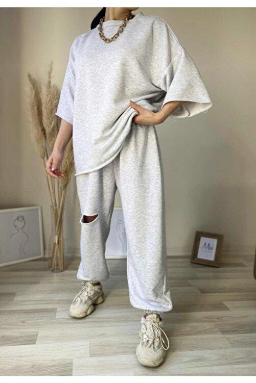ronay giyim Oversize Kadın Gri Eşofman Takımı 1