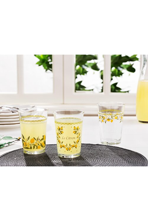 Madame Coco Limon Baskılı 3'lü Su Bardağı Seti 290 ml 1