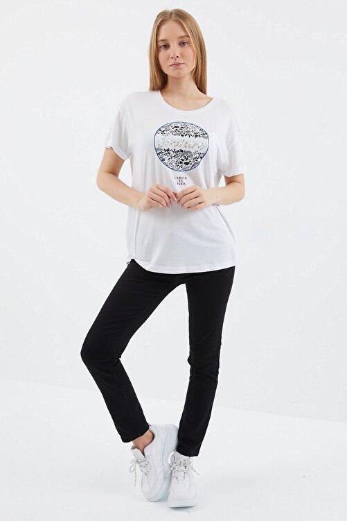 VENA Kadın Beyaz Couture T shırt 2
