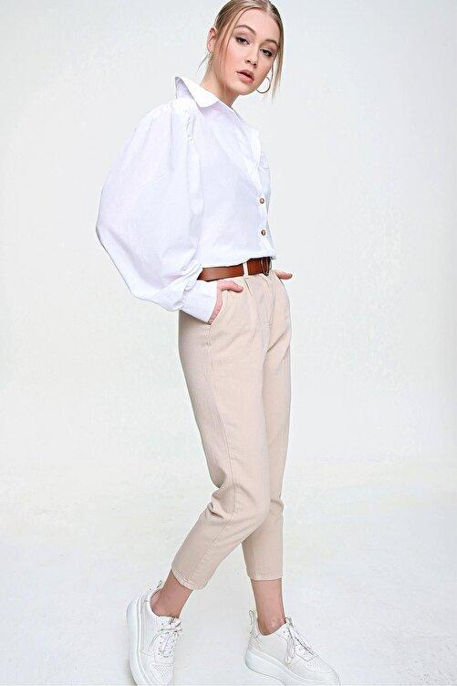 ŞİMAL Kadın Kemerli Gabardin Pantolon 2