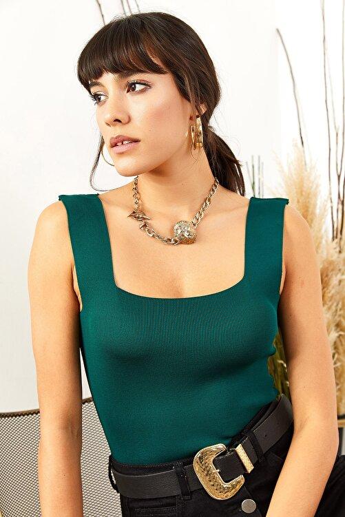 Olalook Kadın Zümrüt Yeşili Kalın Askılı Yazlık Triko Bluz BLZ-19000853 2