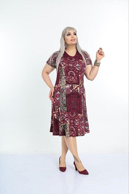 Şirin Butik Kadın Büyük Beden Bordo Etnik Desenli Günlük Viskon Elbise 2