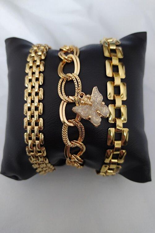 KOBA Altın Kaplama Kelebek Figürlü Kadın Kombin Bileklik 1