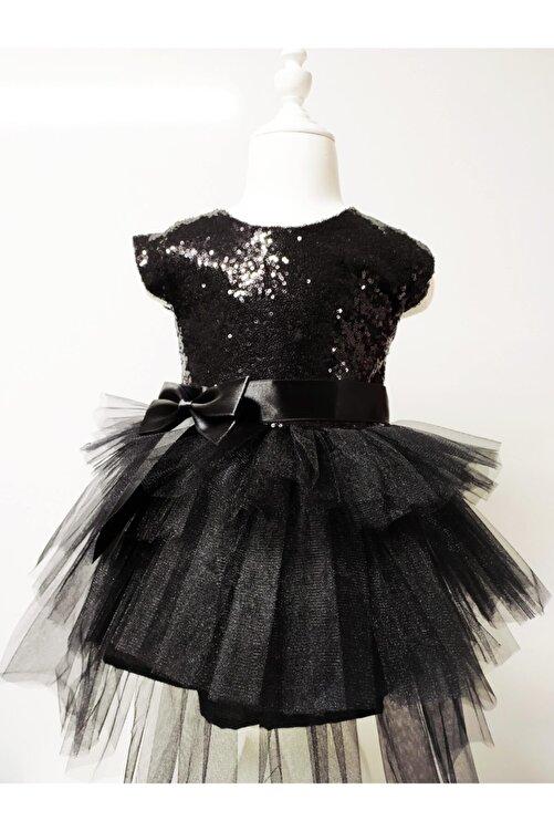 Durumini Kız Çocuk Siyah Tüllü Pul Payetli Parti Elbisesi 1