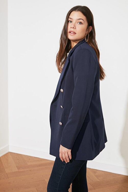 TRENDYOLMİLLA Lacivert Düğme Detaylı Oversize Blazer Ceket TWOSS20CE0024 2