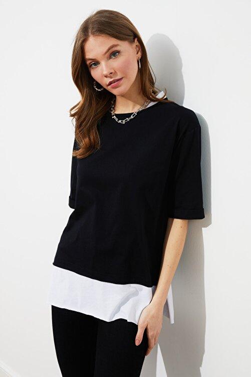 TRENDYOLMİLLA Siyah Parça Detaylı Boyfriend Örme T-Shirt TWOSS20TS0858 2