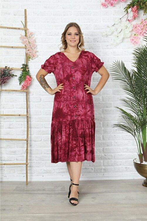 HÜLYA BUTİK Bordo V Yaka Karpuzkol Batik Elbise 1