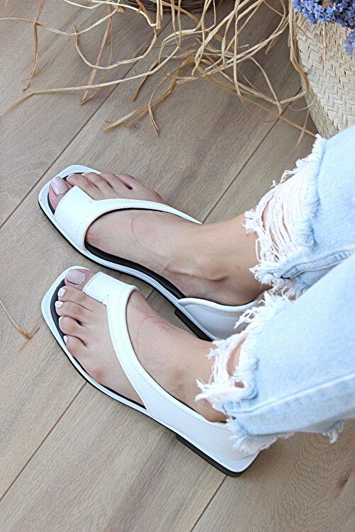 Pembe Potin Kadın Beyaz Sandalet 2