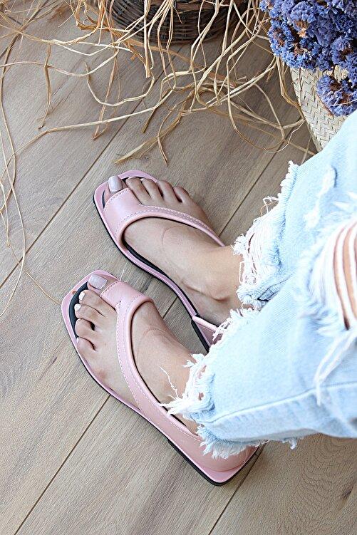 Pembe Potin Kadın Pudra Kısa Topuklu Sandalet 2