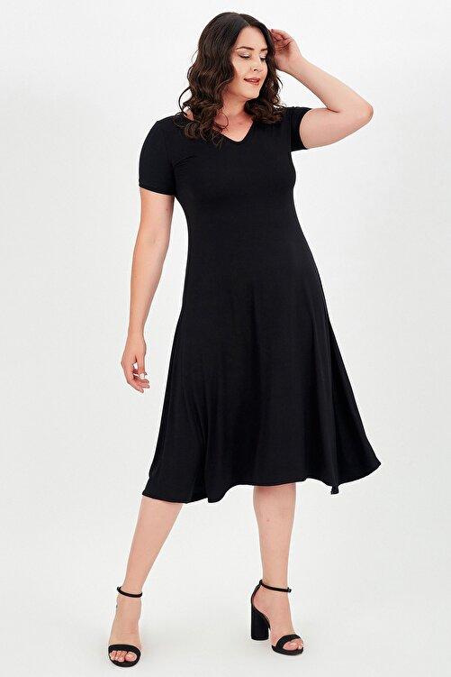 modaonz Kadın Siyah V Yaka Kısa Kollu Elbise 1