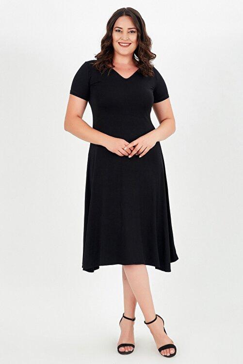modaonz Kadın Siyah V Yaka Kısa Kollu Elbise 2
