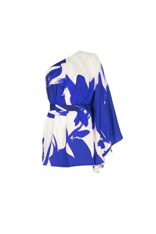 Meltem Özbek Kadın Lacivert Desenli Tek Omuz Kısa Elbise 2