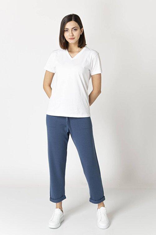 Eleventy Kadın Beyaz  Koton  V-yaka Basıc Tişört 1