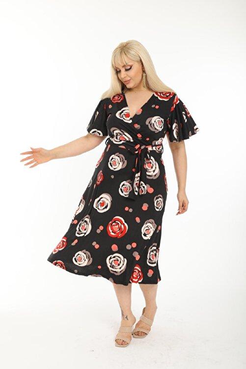 Şirin Butik Kadın Kırmızı Çiçek Desenli Kruvaze Yaka Büyük Beden Elbise 2