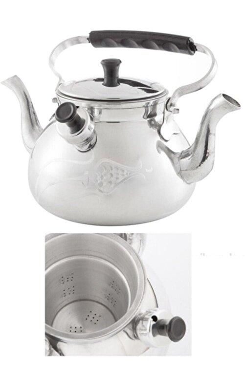 EARABUL Alüminyum Lüks Kamp Çaydanlığı - Süzgeçli Demlik - Çift Taraflı Işlemeli Piknik Çaydanlık Seti 2,5 L 2