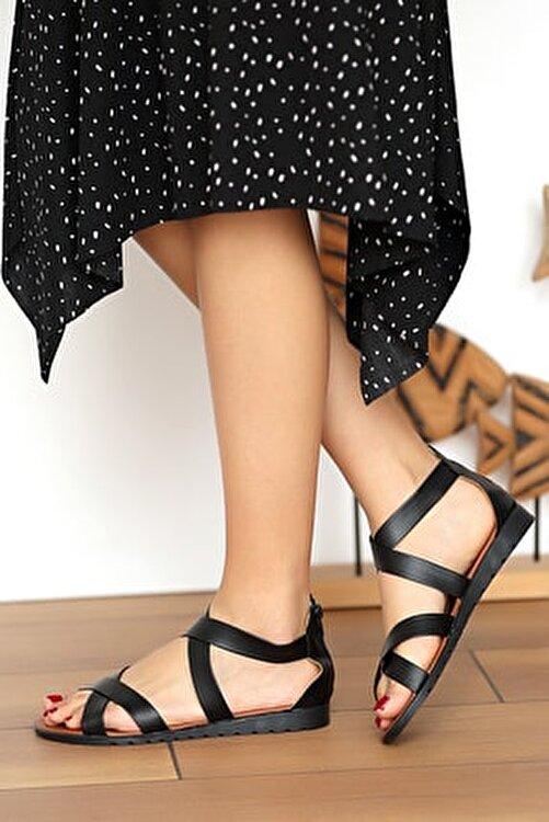 Pembe Potin Kadın Siyah Sandalet 2