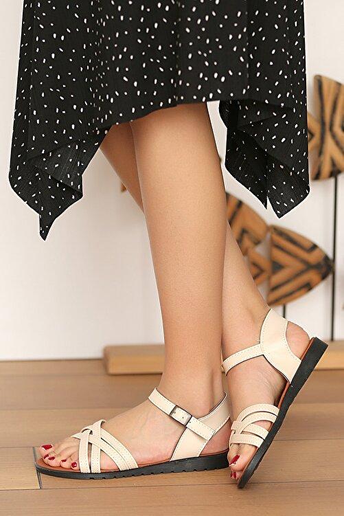 Pembe Potin Kadın Krem Sandalet 2