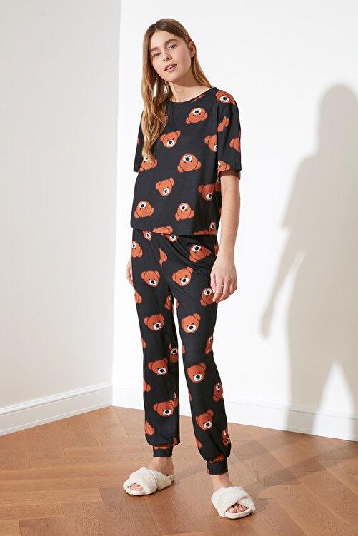 TRENDYOLMİLLA Antrasit Ayıcık Baskılı Örme Pijama Takımı THMSS21PT0195 2