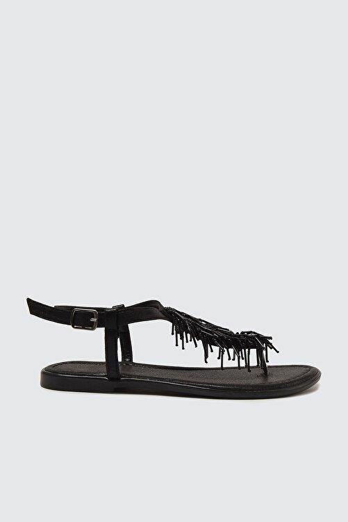 TRENDYOL SHOES Siyah Boncuklu Kadın Sandalet TAKSS21SD0003 1